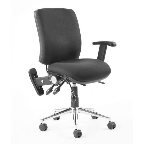 Chiro Fabric Medium Back Office Chair In Black With Folding Arms