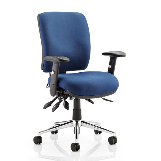 Chiro Fabric Medium Back Office Chair In Blue With Arms_1