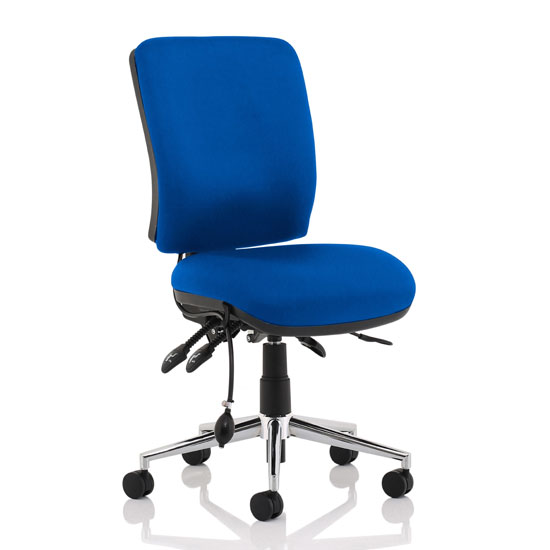 Chiro Fabric Medium Back Office Chair In Blue No Arms