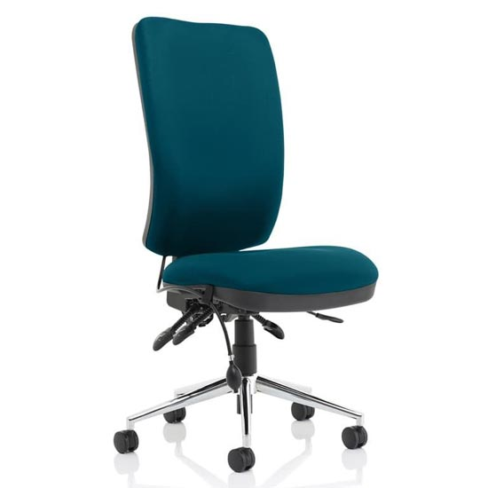 Chiro High Back Office Chair In Maringa Teal No Arms_1