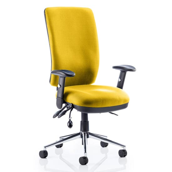 Chiro High Back Office Chair In Senna Yellow With Arms