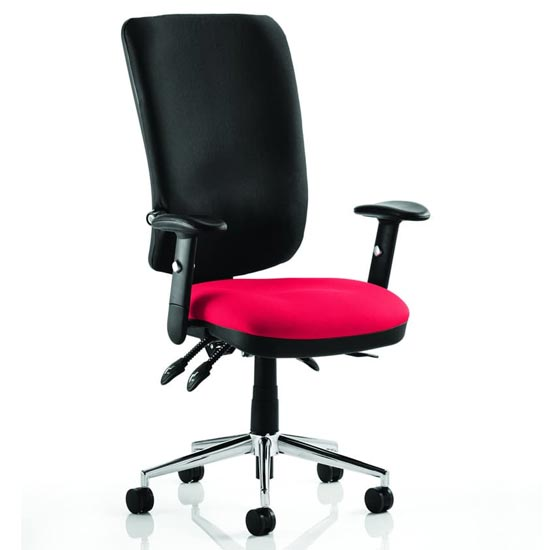 View Chiro high black back office chair in bergamot cherry with arms