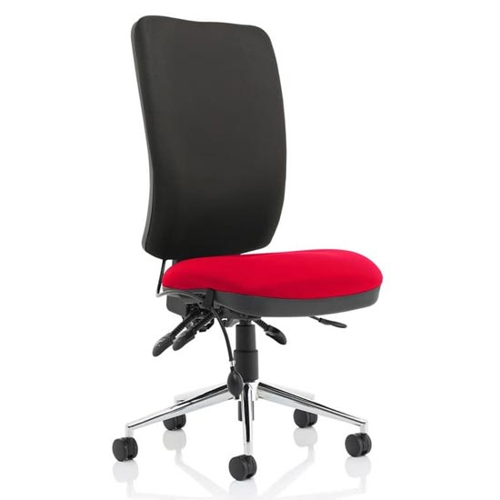 Chiro High Black Back Office Chair In Bergamot Cherry No Arms