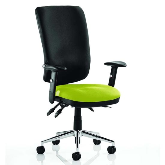 Chiro High Black Back Office Chair In Myrrh Green With Arms_1