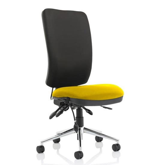 Chiro High Black Back Office Chair In Senna Yellow No Arms_1