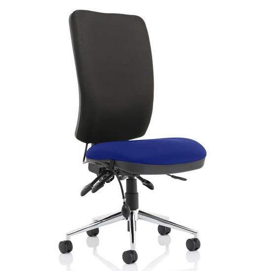 Chiro High Black Back Office Chair In Stevia Blue No Arms