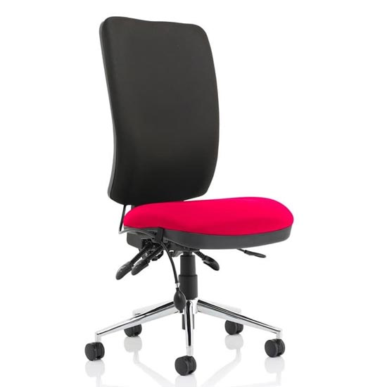 Chiro High Black Back Office Chair In Tabasco Red No Arms