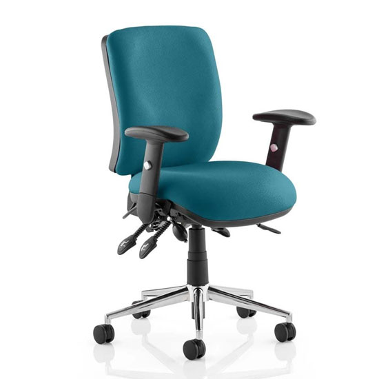Chiro Medium Back Office Chair In Maringa Teal With Arms