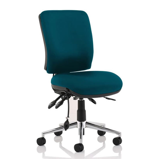 Chiro Medium Back Office Chair In Maringa Teal No Arms_1