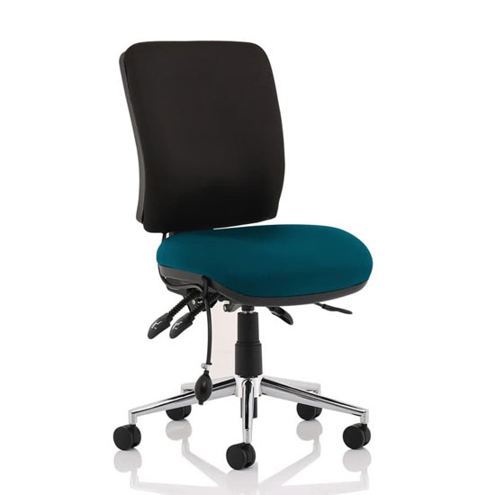 Chiro Medium Back Office Chair With Maringa Teal Seat No Arms
