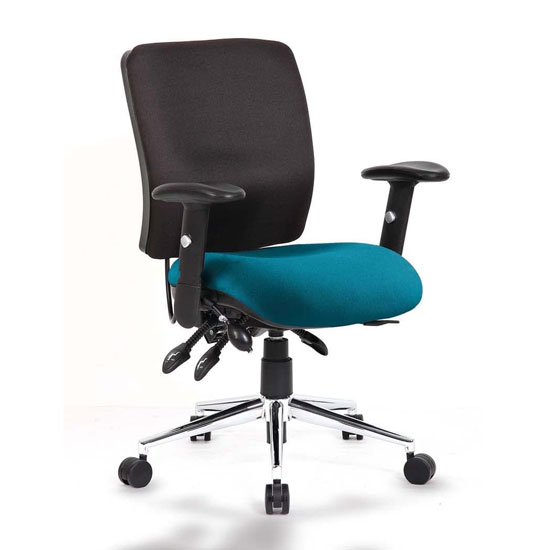 Chiro Medium Back Office Chair With Maringa Teal Seat