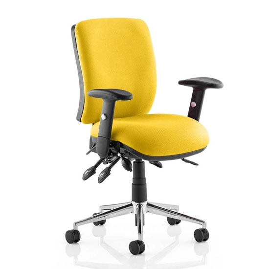 Chiro Medium Back Office Chair In Senna Yellow With Arms