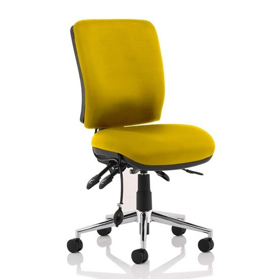 Chiro Medium Back Office Chair In Senna Yellow No Arms