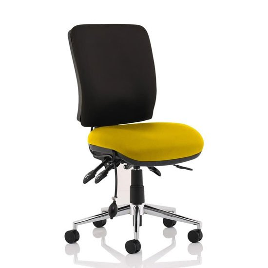 Product photograph showing Chiro Medium Back Office Chair With Senna Yellow Seat No Arms
