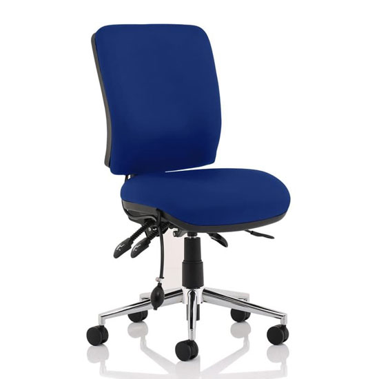 Chiro Medium Back Office Chair In Stevia Blue No Arms_1