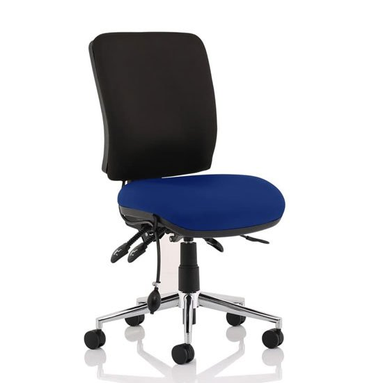 Chiro Medium Back Office Chair With Stevia Blue Seat No Arms