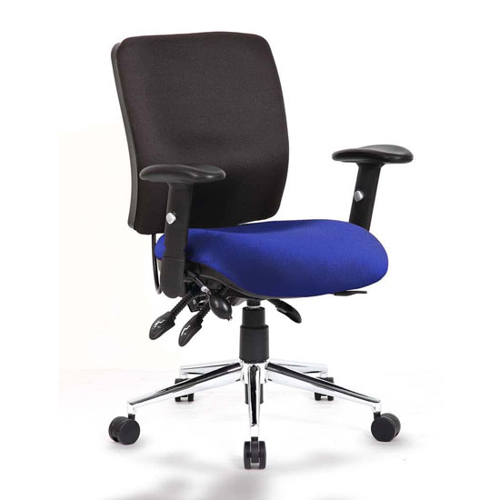 Chiro Medium Back Office Chair With Stevia Blue Seat_1