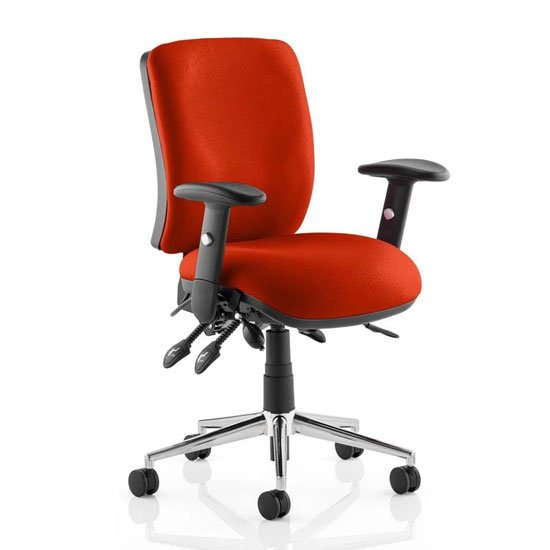 Chiro Medium Back Office Chair In Tabasco Red With Arms