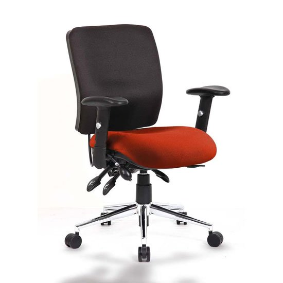 Chiro Medium Back Office Chair With Tabasco Red Seat