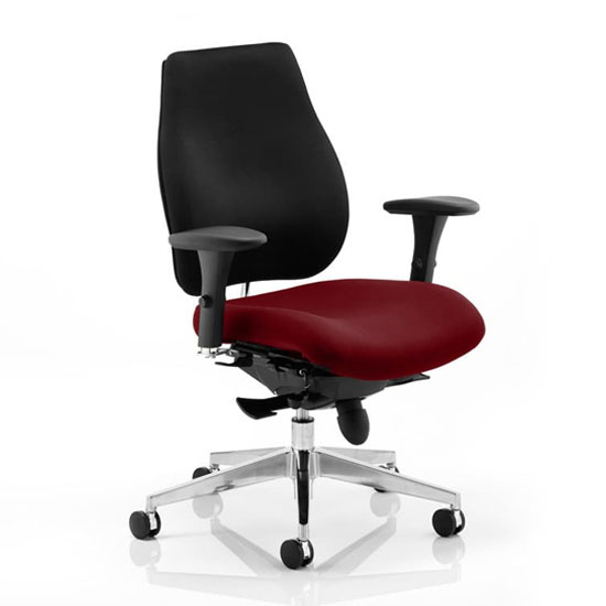 Chiro Plus Black Back Office Chair With Ginseng Chilli Seat