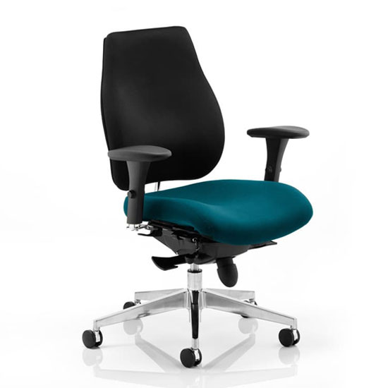 Chiro Plus Black Back Office Chair With Maringa Teal Seat_1