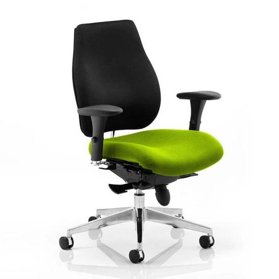 View Chiro plus black back office chair with myrrh green seat