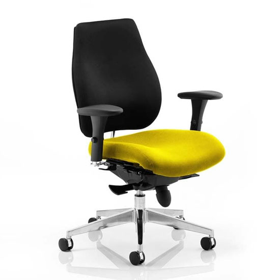 View Chiro plus black back office chair with senna yellow seat