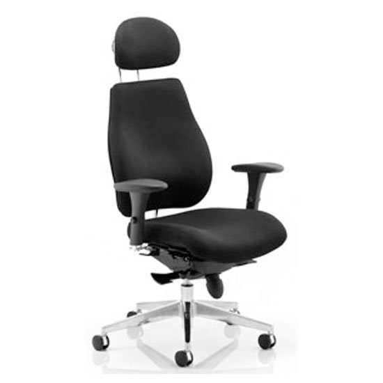 Chiro Plus Ergo Headrest Office Chair In Black With Arms