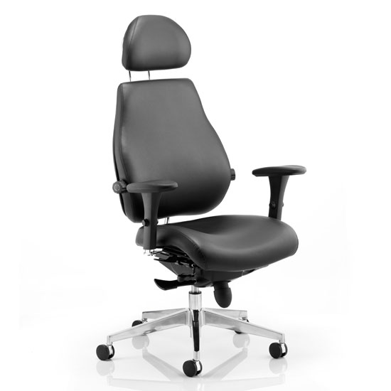 Chiro Plus Leather Headrest Office Chair In Black With Arms