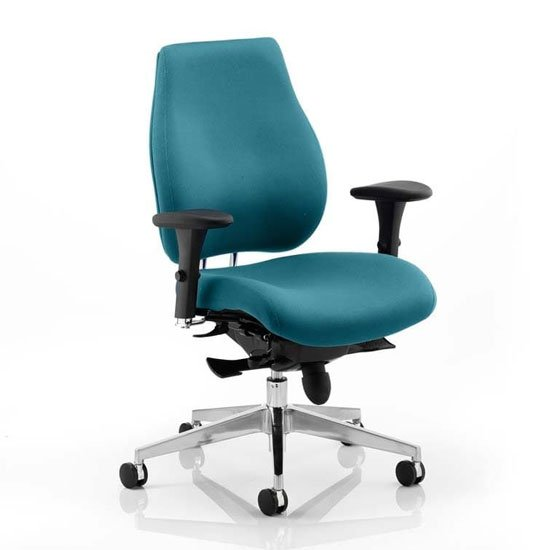Chiro Plus Office Chair In Maringa Teal With Arms