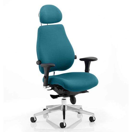 Chiro Plus Ultimate Headrest Office Chair In Maringa Teal