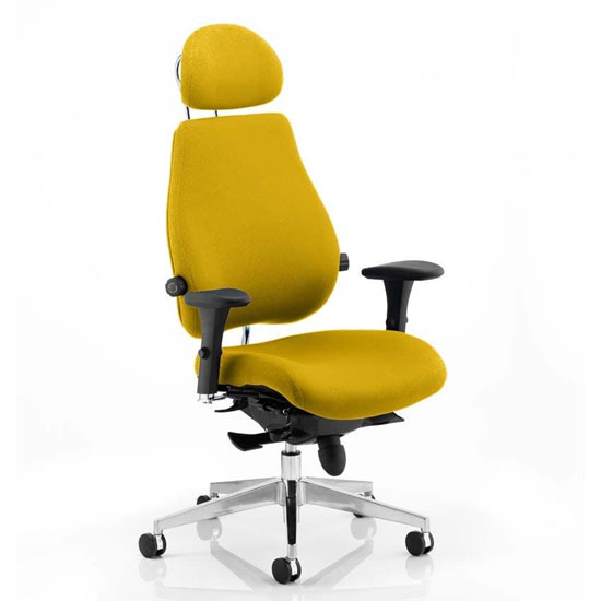 View Chiro plus ultimate headrest office chair in senna yellow