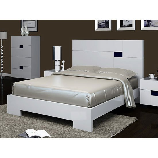 Morvik King Size Bed In White High Gloss And Tinted Mirror
