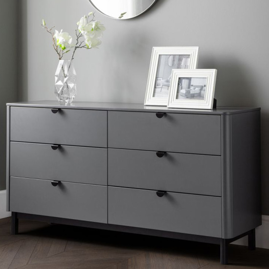 Chloe Wooden Chest Of Drawers In Strom Grey With 6 Drawers