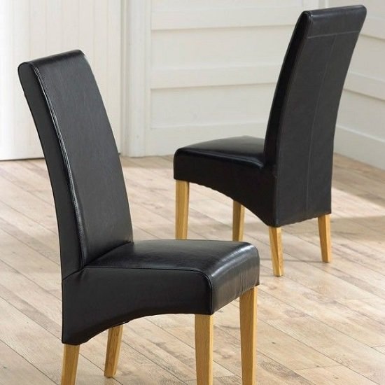 Choe Black Bonded Leather Dining Chairs With Oak Legs In A Pair