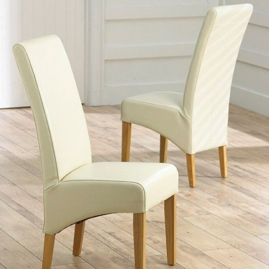 Choe Cream Bonded Leather Dining Chairs With Oak Legs In A Pair