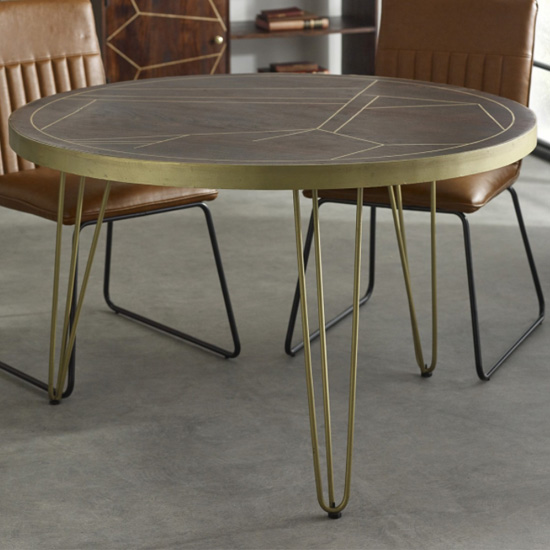 Chort Round Wooden Dining Table In Dark Walnut