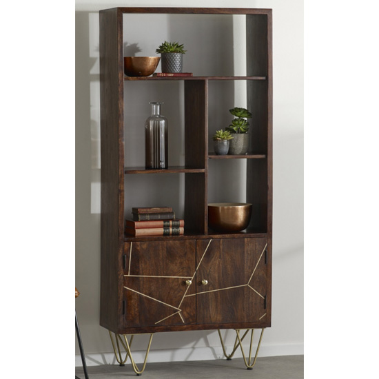 Chort Wooden Bookcase In Dark Walnut With 2 Doors 5 Shelves