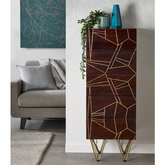 Product photograph showing Chort Wooden Chest Of Drawers In Dark Walnut With 5 Drawers