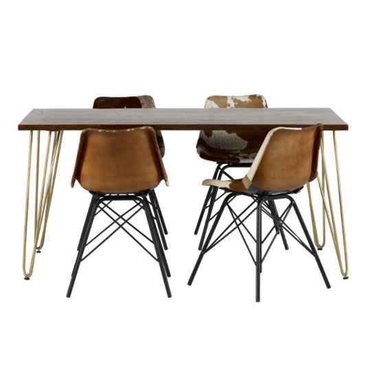 Chort Wooden Dining Table In Dark Walnut With 4 Cowhide Chairs