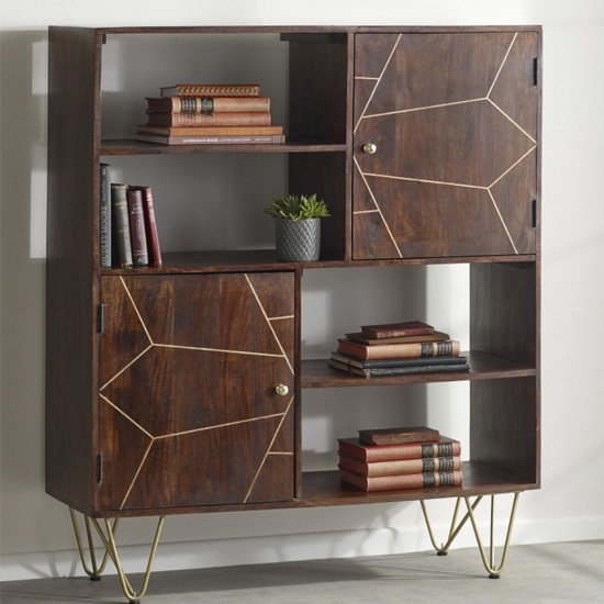 Chort Wooden Display Cabinet In Dark Walnut With 2 Doors