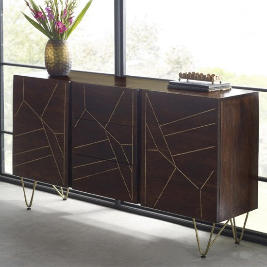 Product photograph showing Chort Wooden Sideboard In Dark Walnut With 2 Doors 3 Drawers