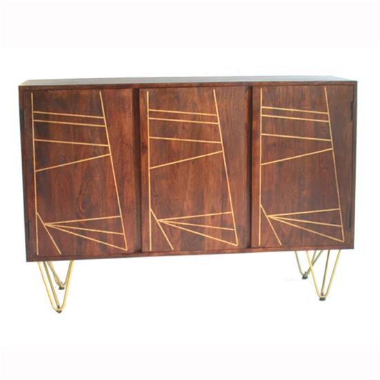 View Chort wooden sideboard in dark walnut with 3 doors