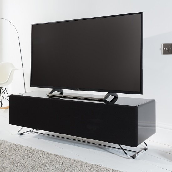 Claude Glass TV Stand In Black High Gloss With Steel Frame