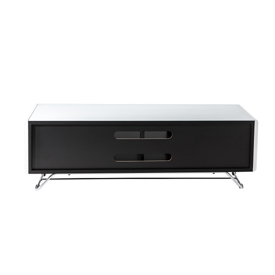 Claude Glass TV Stand In White High Gloss With Steel Frame_3