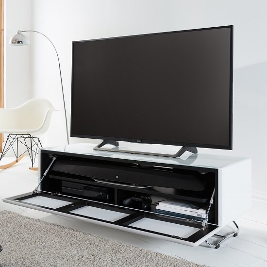 Claude Glass TV Stand In White High Gloss With Steel Frame_2