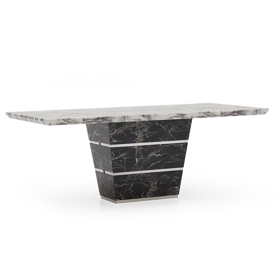 Chrysla 180cm Marble Dining Table In White And Black