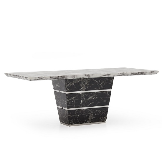 Chrysla 200cm Marble Dining Table In White And Black