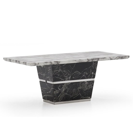 Chrysla Marble Coffee Table In White And Black