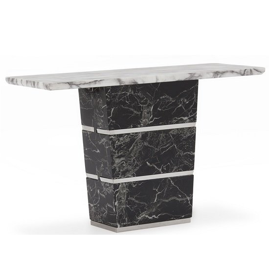 Chrysla Marble Console Table In White And Black